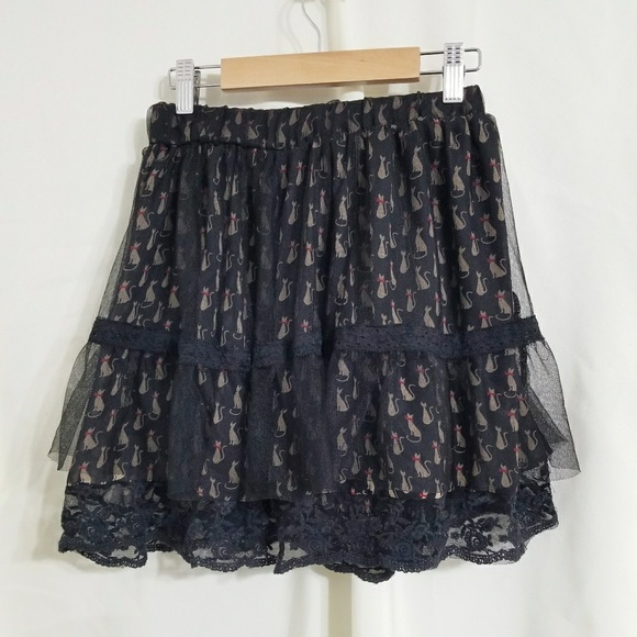 3389eb35eb American Rag Skirts | Cat Tutu Skirt Black Lace Kitties Sm | Poshmark